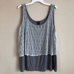 Torrid Gray Tank Top With Lace Detail
